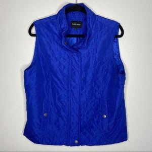 Nine West Quilted Blue Snap Button Vest Large